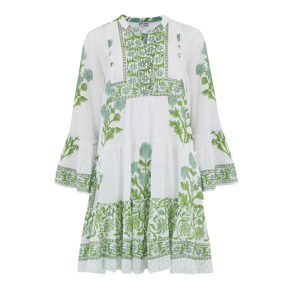 Juliet Dunn Poppy Print Flare Sleeve Dress White