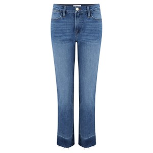Frame Denim Le High Straight Raw Edge Slit Jeans