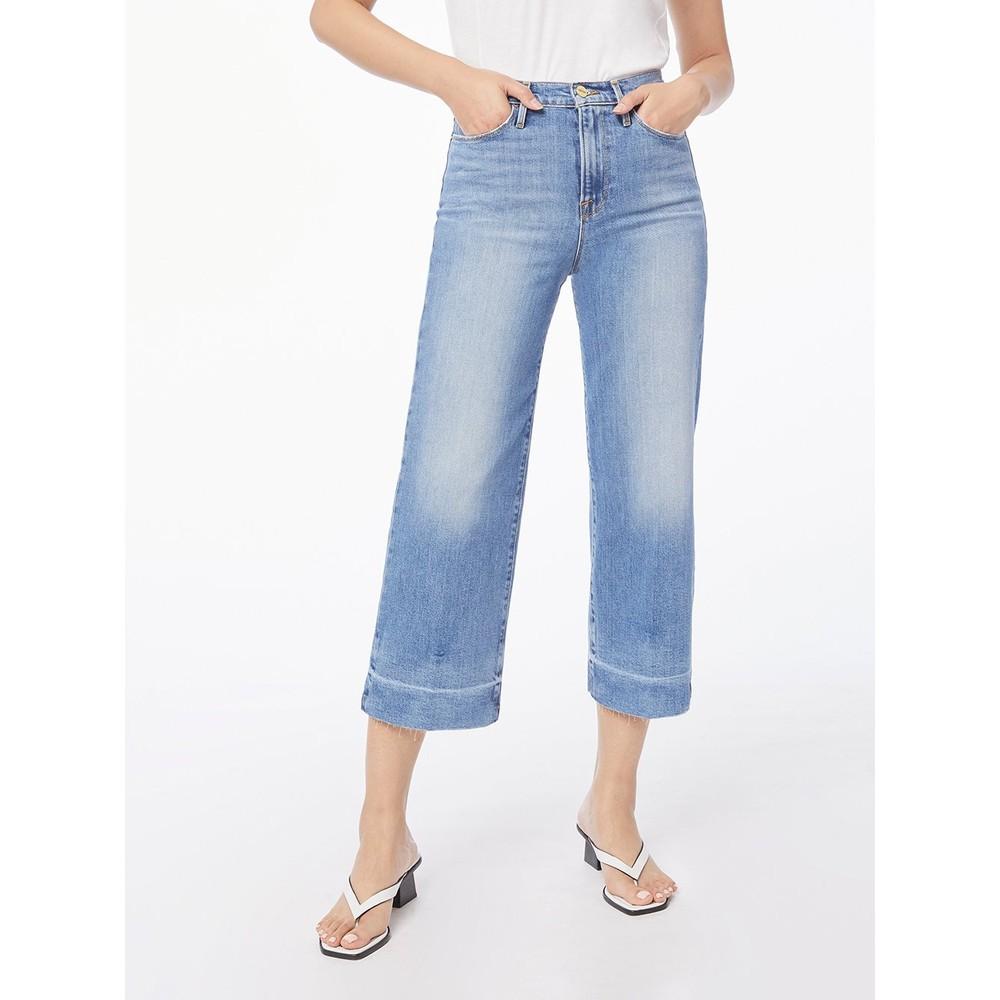Frame Denim Ali Wide Crop Raw Edge Jeans Mid Denim
