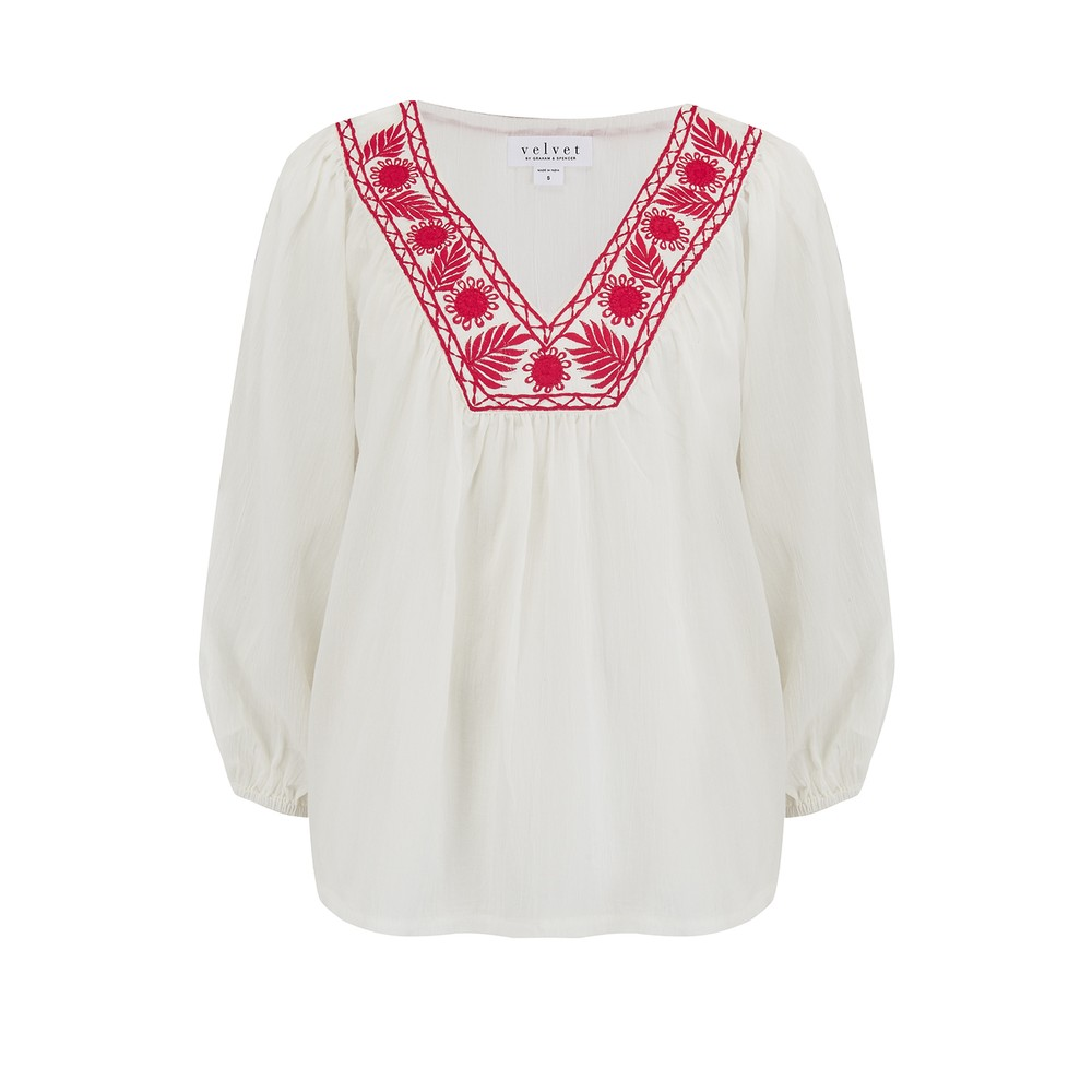 Velvet Zaylee Embroidered Blouse in White & Red White