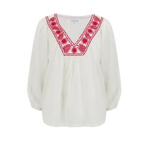 Velvet Zaylee Embroidered Blouse in White & Red