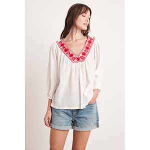 Velvet Zaylee Embroidered Blouse in White & Red