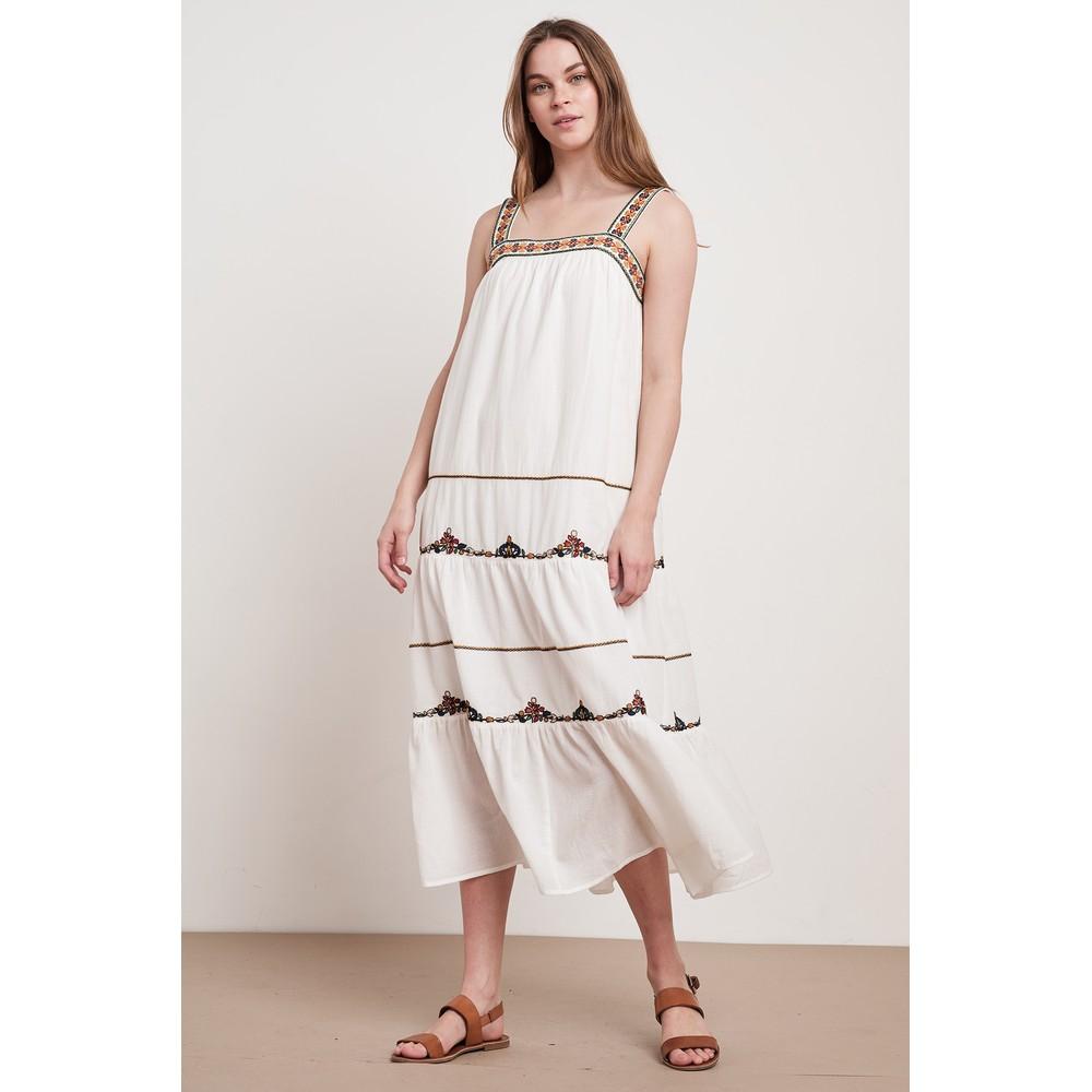 Velvet Winifred Embroidered Dress White