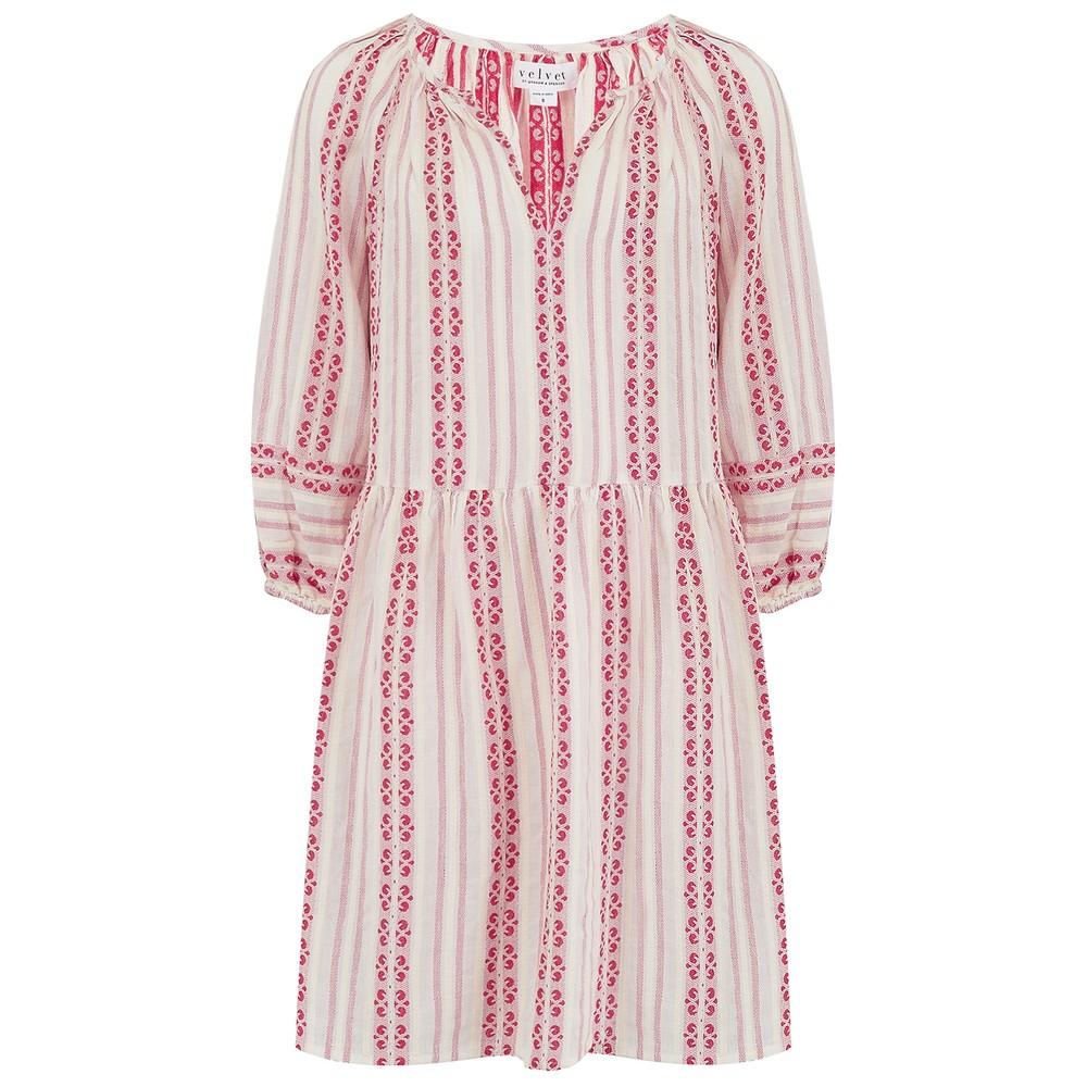 Velvet Nona Striped Dress in Sunset Red