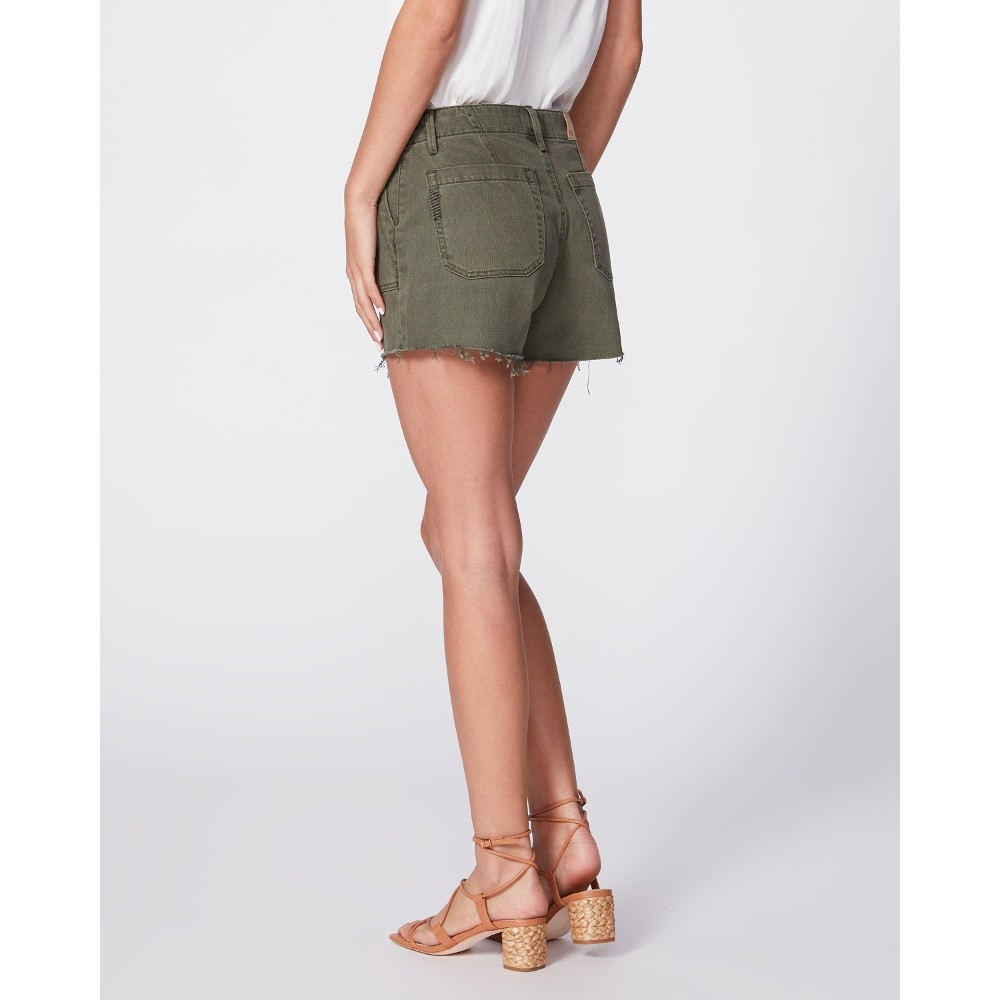 Paige Mayslie Utility Shorts in Vintage Ivy Green Green