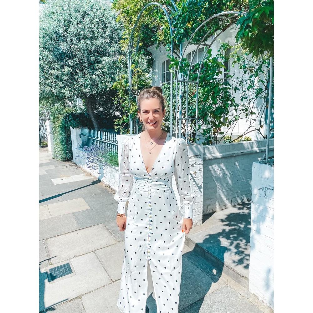 Olivia Rubin Valentina Polka Dot Dress White