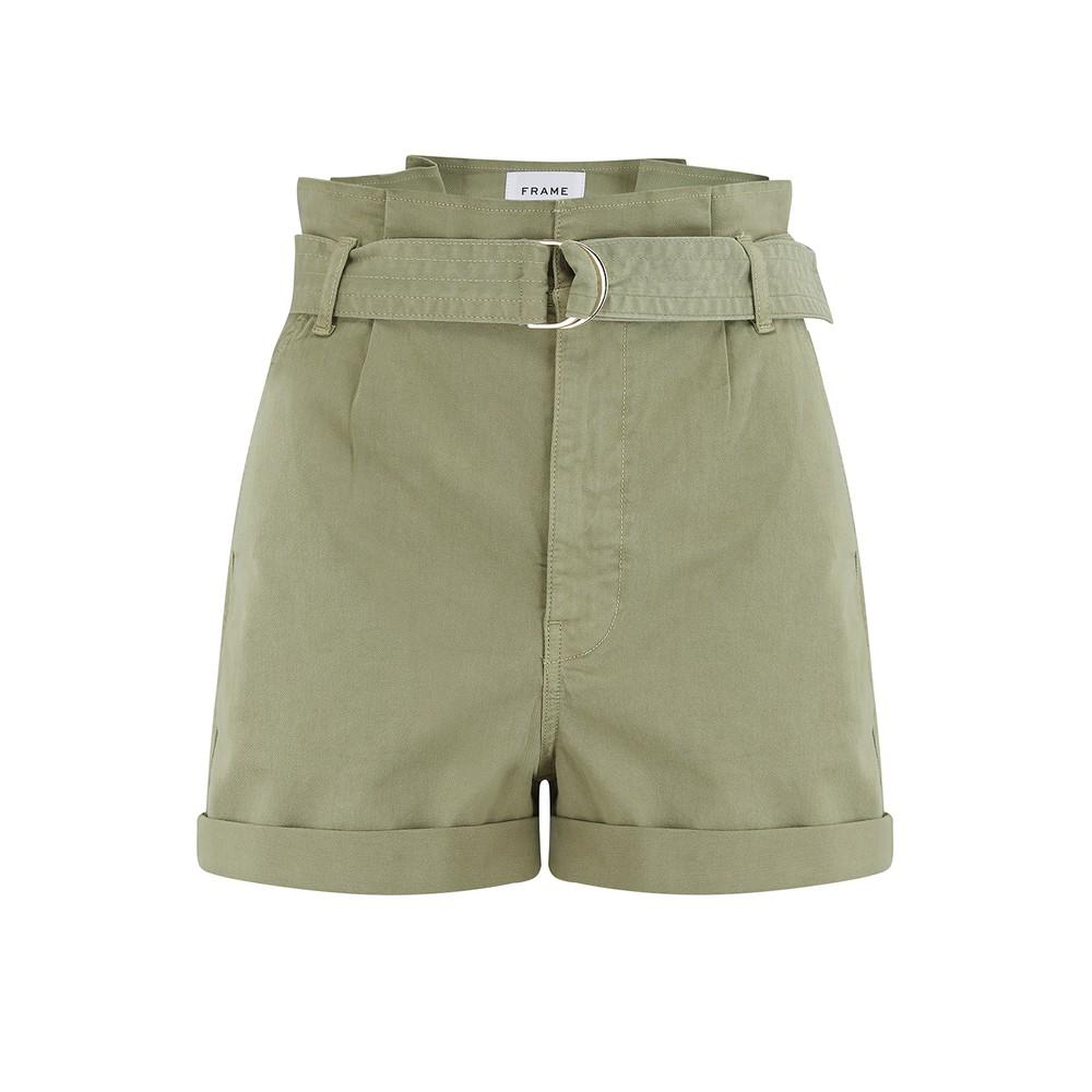 Frame Denim Safari Belted Shorts Green