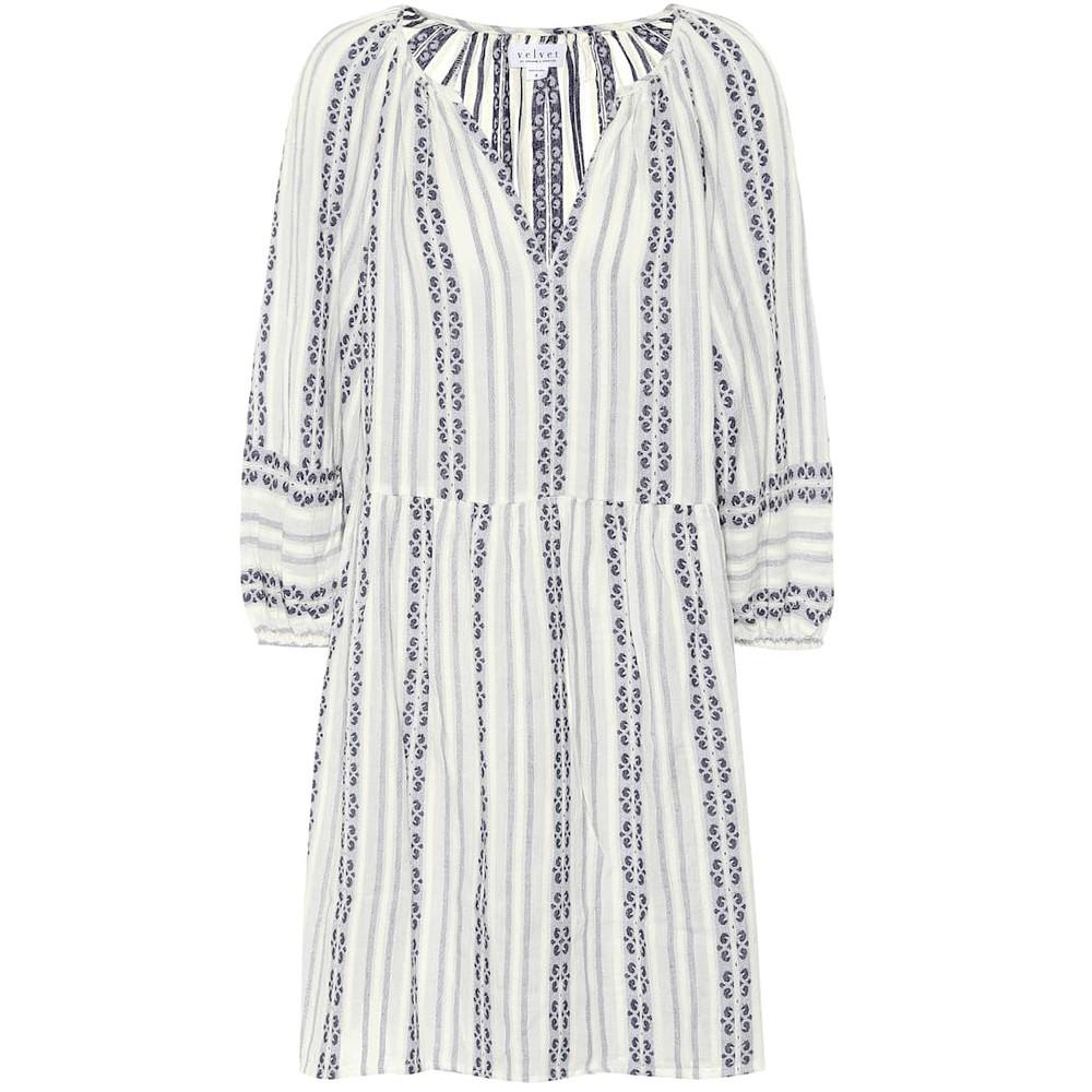 Velvet Nona Striped Dress in Ocean Blue