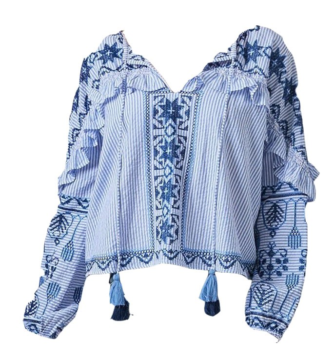Rose & Rose Boston Blue and White Long Sleeve Top Blue