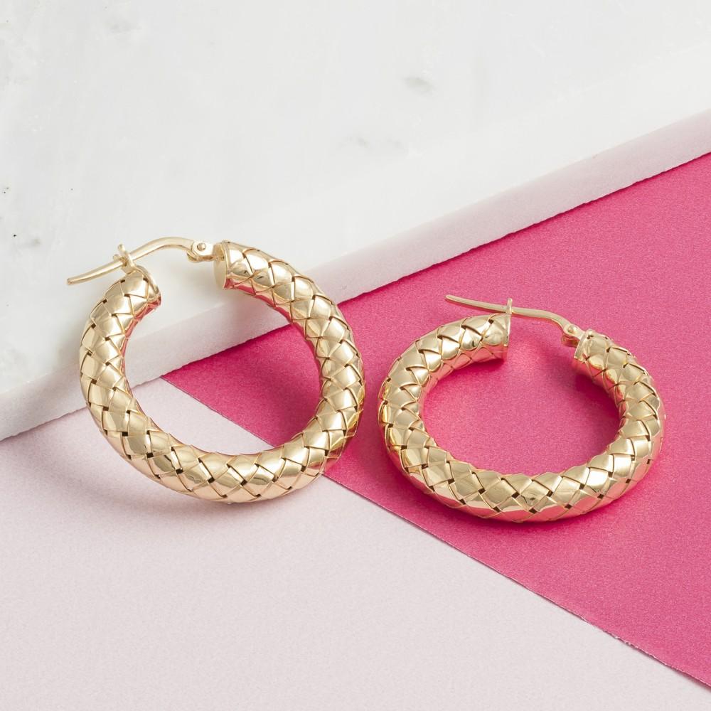 Loel & Co Jewellery Gold Thick Woven Hoop Earrings Gold