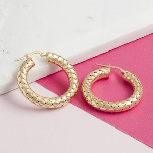 Loel & Co Jewellery Gold Thick Woven Hoop Earrings