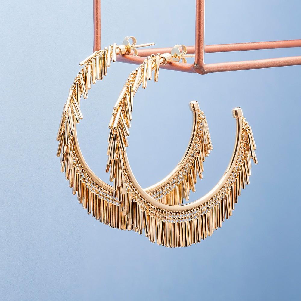 Loel & Co Jewellery Small Gold Tassel Hoop Earrings Gold