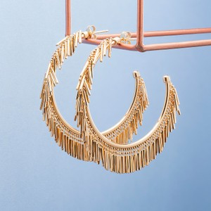 Loel & Co Jewellery Small Gold Tassel Hoop Earrings