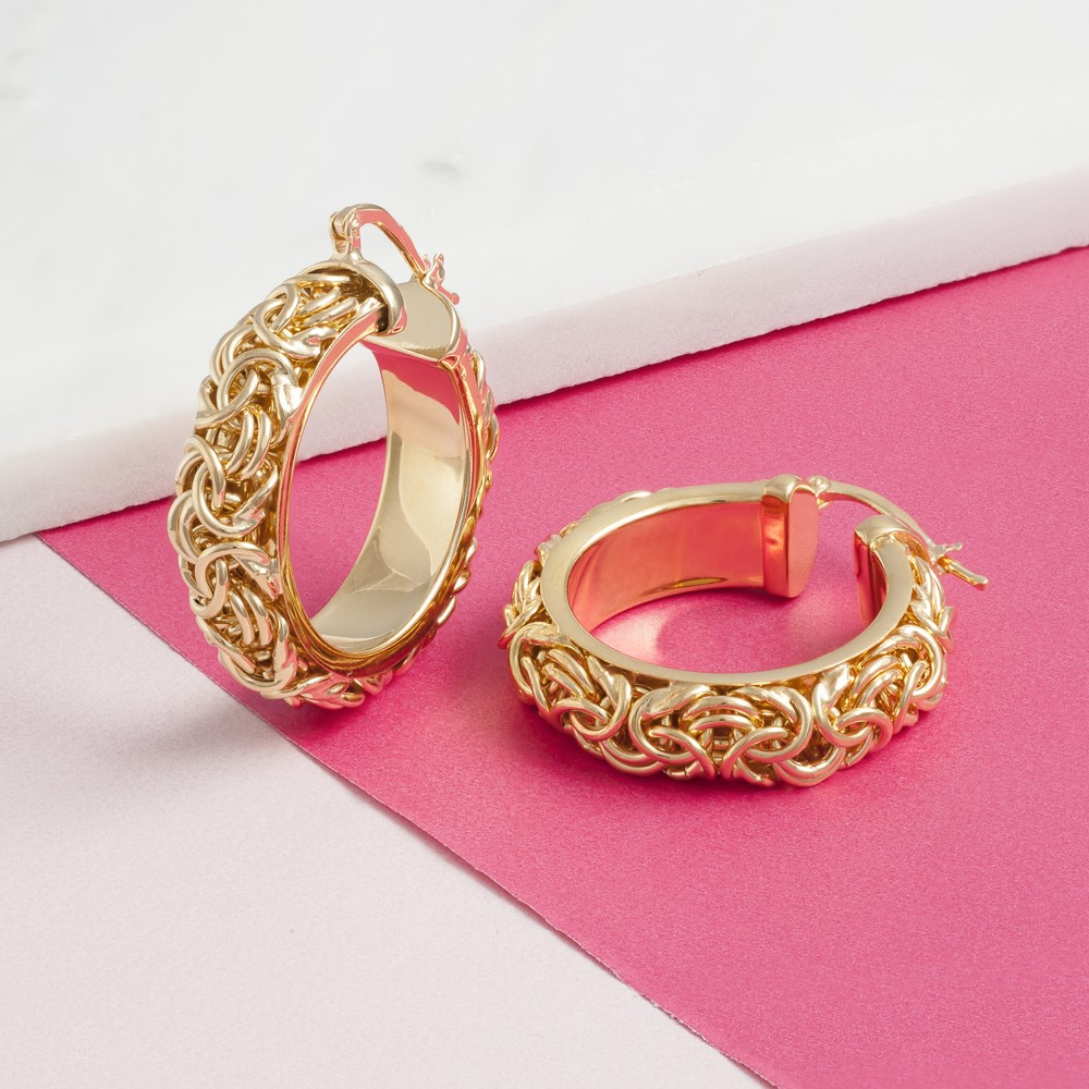 Loel & Co Jewellery Gold Solid Chain Hoops Gold