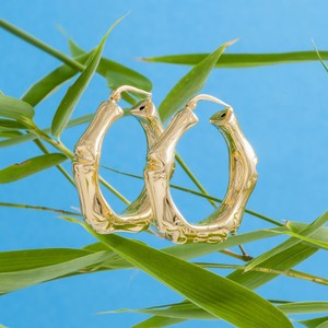 Loel & Co Jewellery Gold Bamboo Hoop Earrings