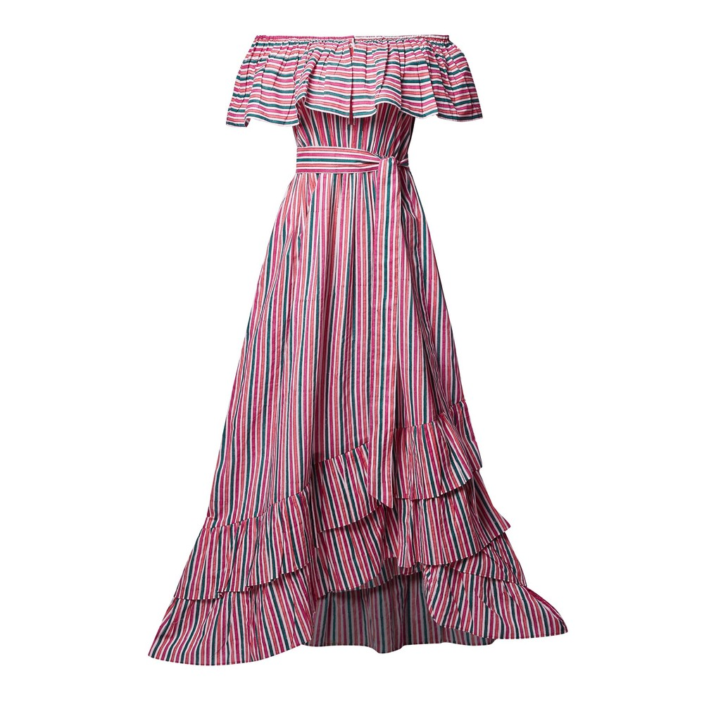 Pink City Prints Susie Mid Dress in Strawberry Mint Stripes Red