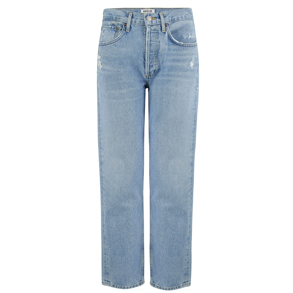 Agolde Parker Easy Straight Jeans in Swapmeet Light Denim