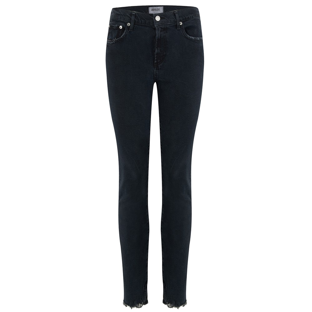 Agolde Toni Mid Rise Straight Jeans in Feral Black