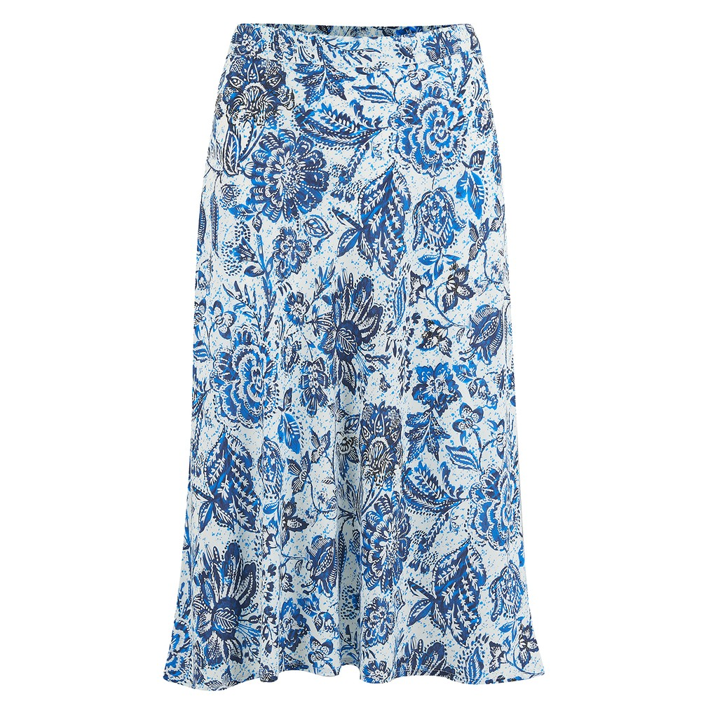 Velvet Aila Printed Challis Skirt in Juniper Blue