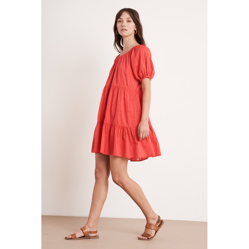 Velvet Renelle Cotton Voile Dress in Hibiscus Red