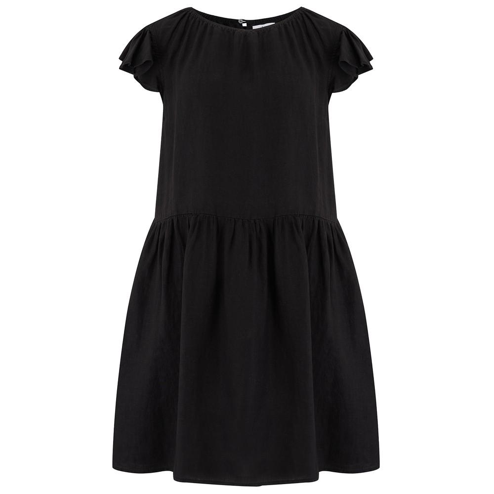 Velvet Evonne Woven Linen Dress in Black Black