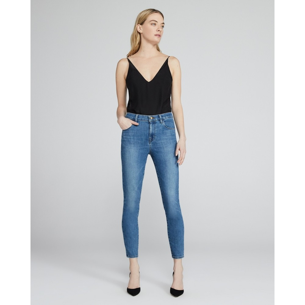 J Brand Alana High Rise Crop Skinny Jeans in Pioneer Mid Denim