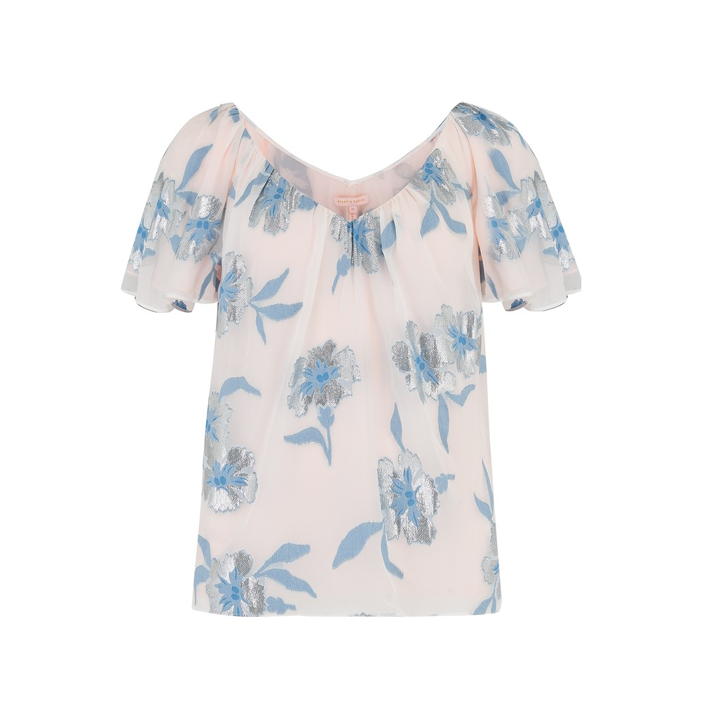 Rebecca Taylor Short Sleeve Metallic Fleur Blouse Blue