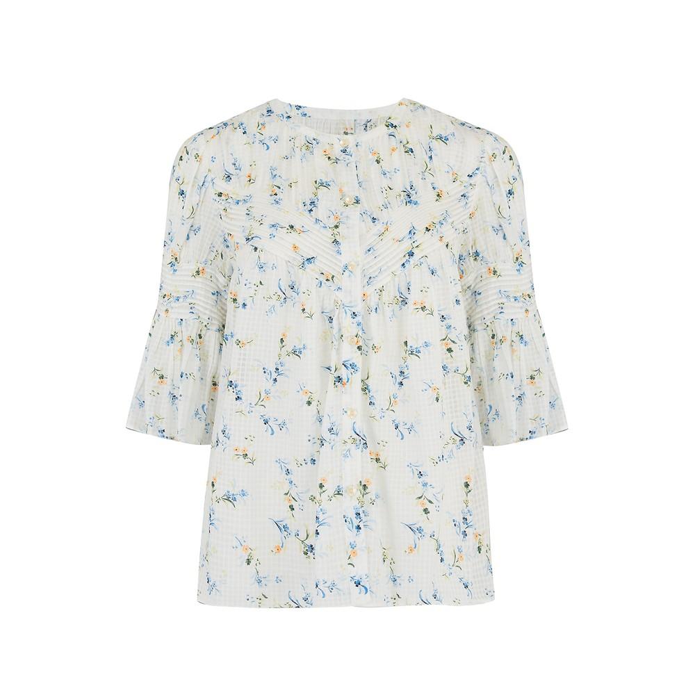 Rebecca Taylor La Vie Short Sleeve Gaelle Top in Milk White