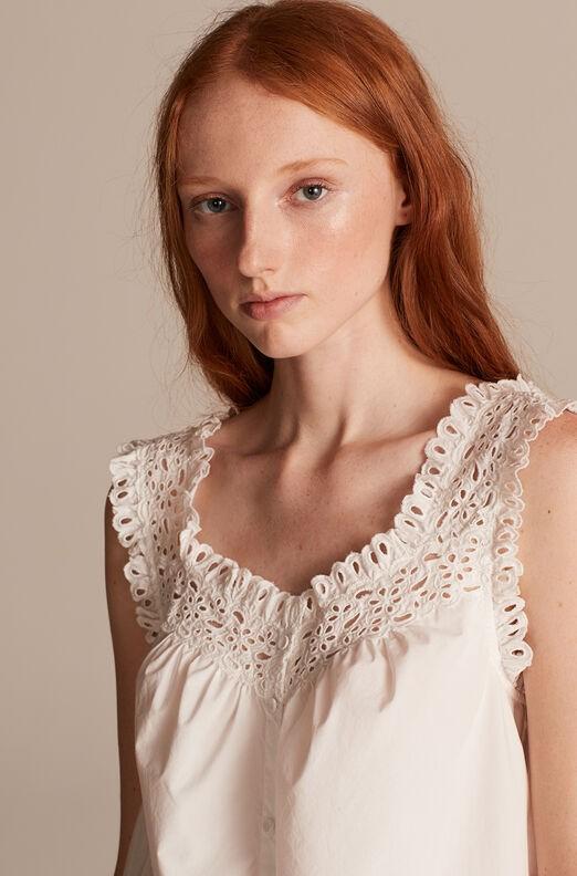 Rebecca Taylor La Vie Sleeveless Lisette Eyelet Top in Milk White
