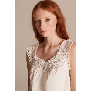 Rebecca Taylor La Vie Sleeveless Lisette Eyelet Top in Milk