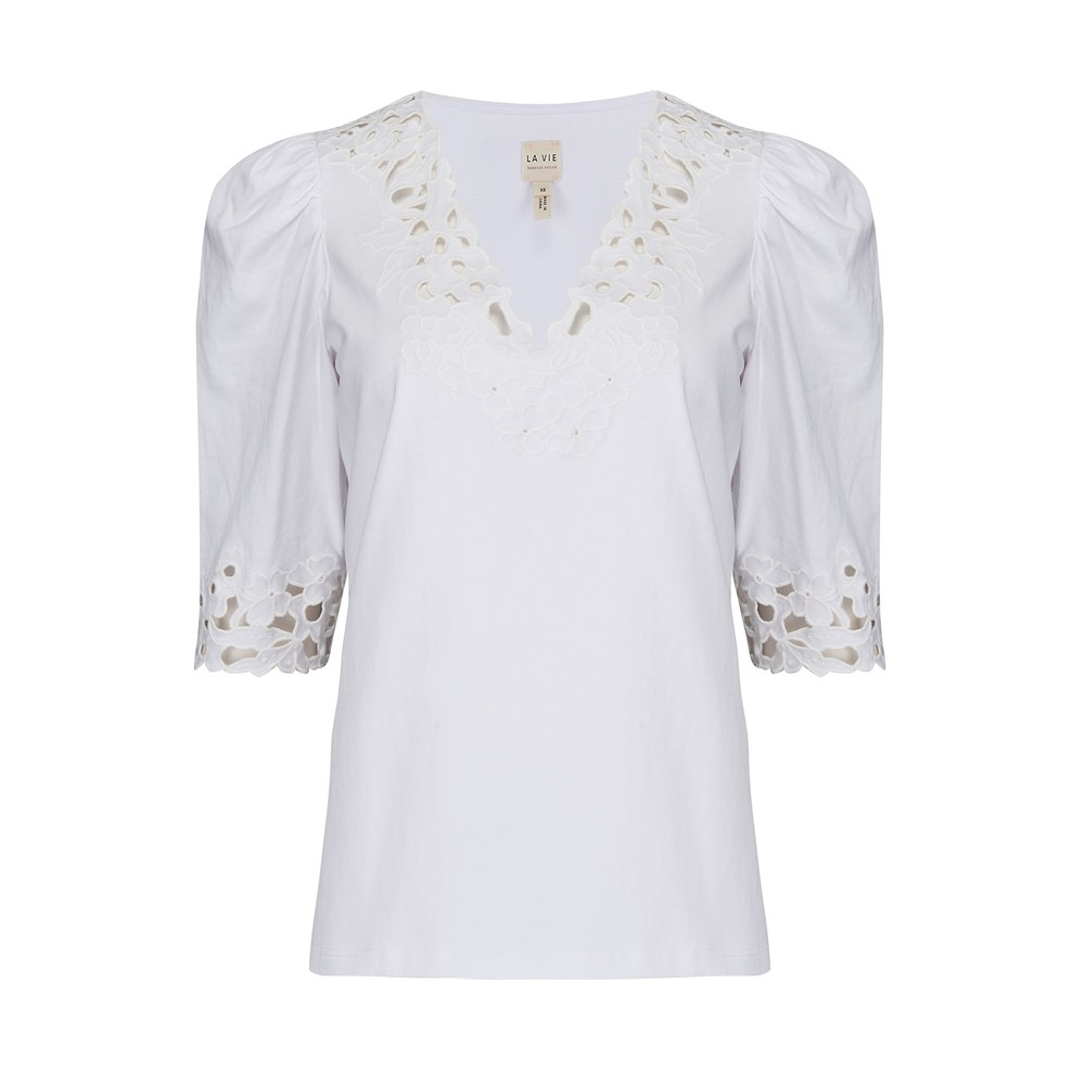 Rebecca Taylor La Vie Short Sleeve Embroidered Jersey Top White