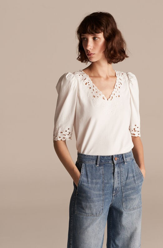 Rebecca Taylor La Vie Short Sleeve Embroidered Jersey Top Katie Jo