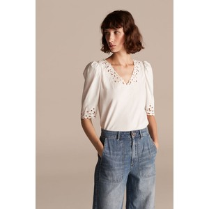 Rebecca Taylor La Vie Short Sleeve Embroidered Jersey Top