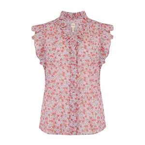 Rebecca Taylor La Vie Sleeveless Eva Floral Blouse in Blue Haze