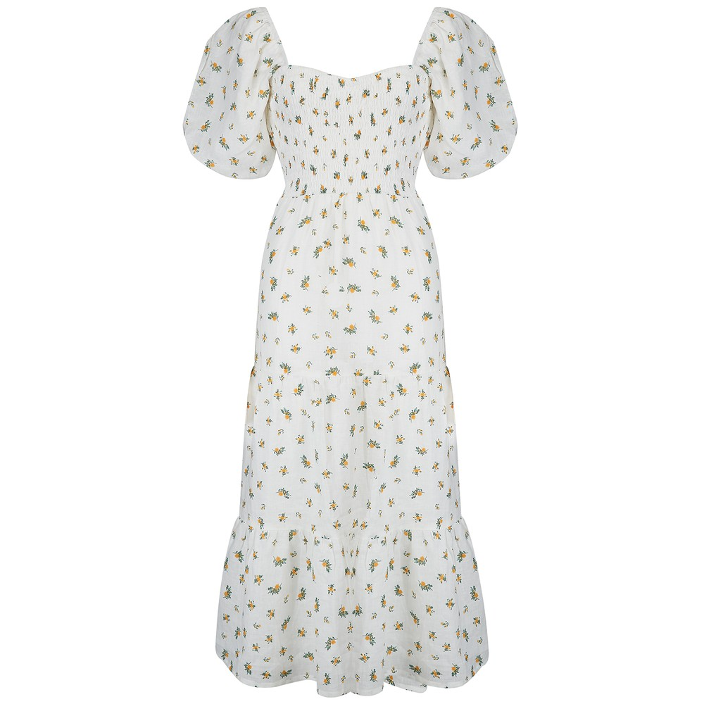 Faithfull The Brand Gianni Midi Dress in Carrie Floral Print White