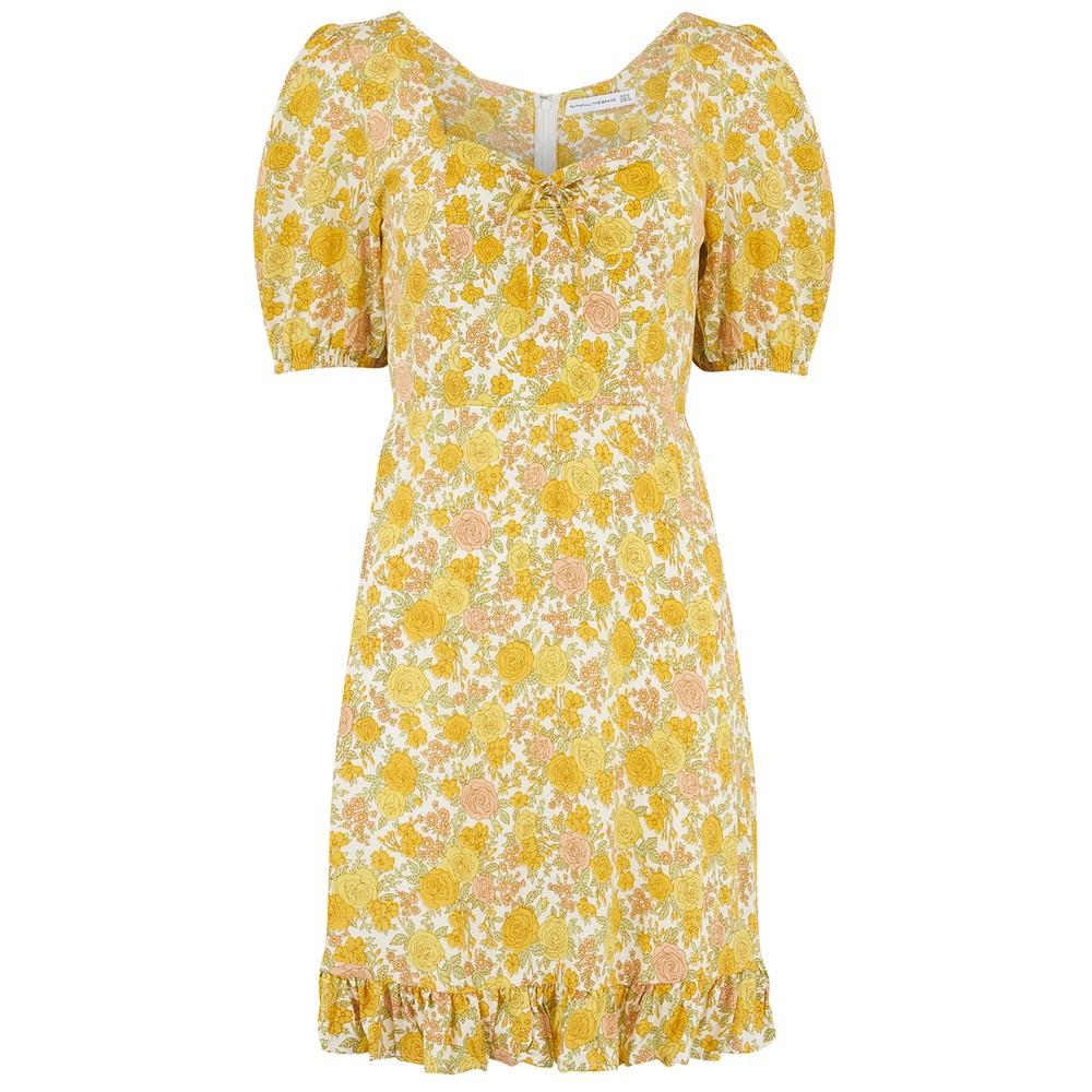 Faithfull The Brand Agathe Mini Dress in Garden Floral Print Yellow