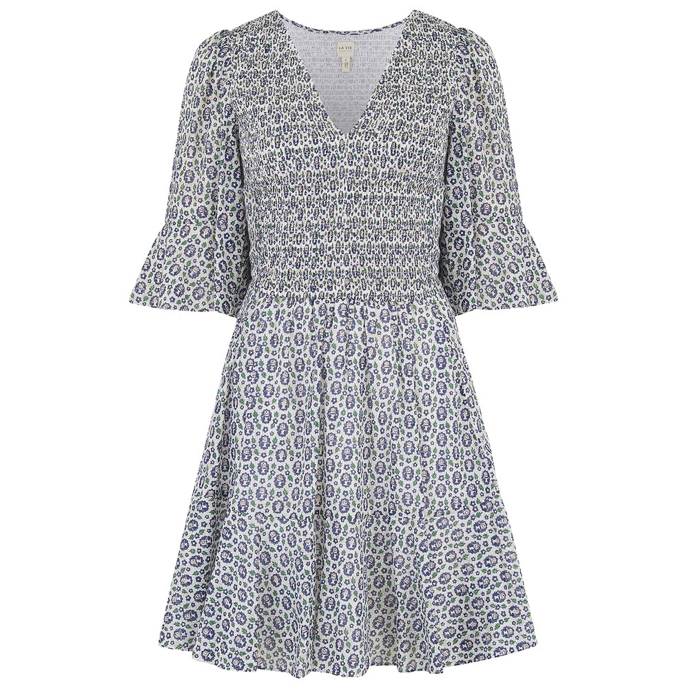 Rebecca Taylor La Vie Short Sleeve Petula Smock Dress in Milk White