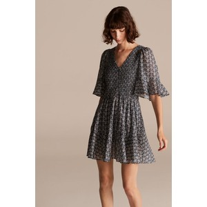 Rebecca Taylor La Vie Short Sleeve Petula Smock Dress in Milk