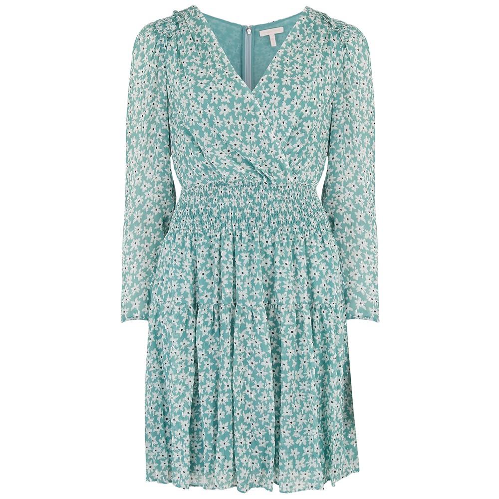 Rebecca Taylor Long Sleeve Star Smock Dress Cream