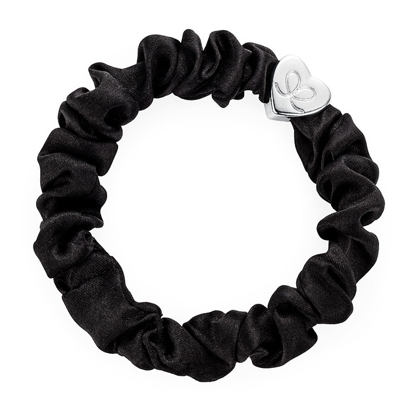 By Eloise Silk Scrunchie in Black Black