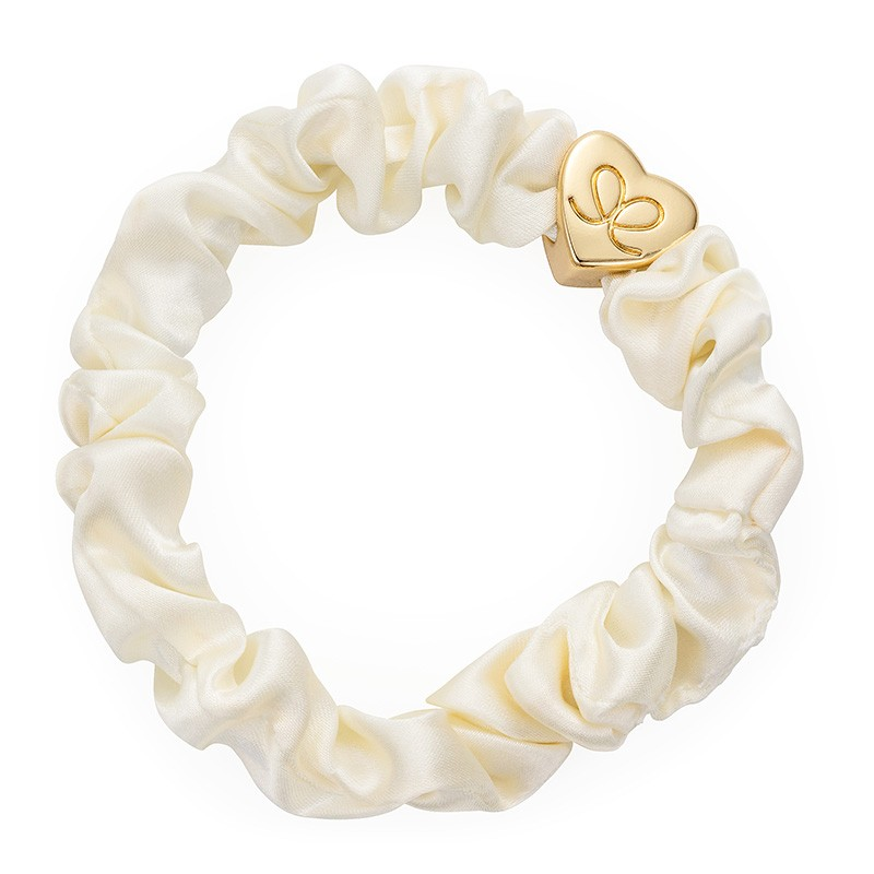 By Eloise Silk Scrunchie in Cream Cream