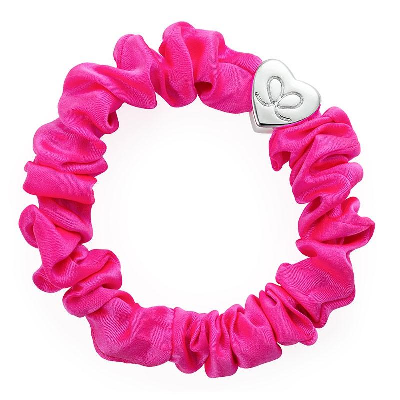 By Eloise Silk Scrunchie in Neon Pink Pink