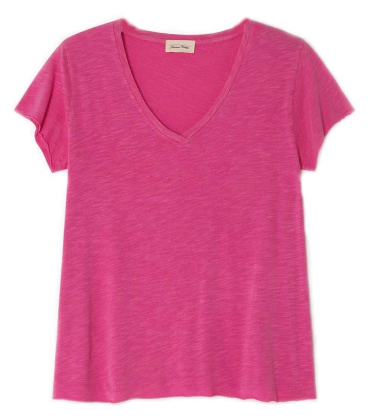 American Vintage Jacksonville V Neck T Shirt in Pinky Vintage Pink