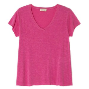 American Vintage Jacksonville V Neck T Shirt in Pinky Vintage