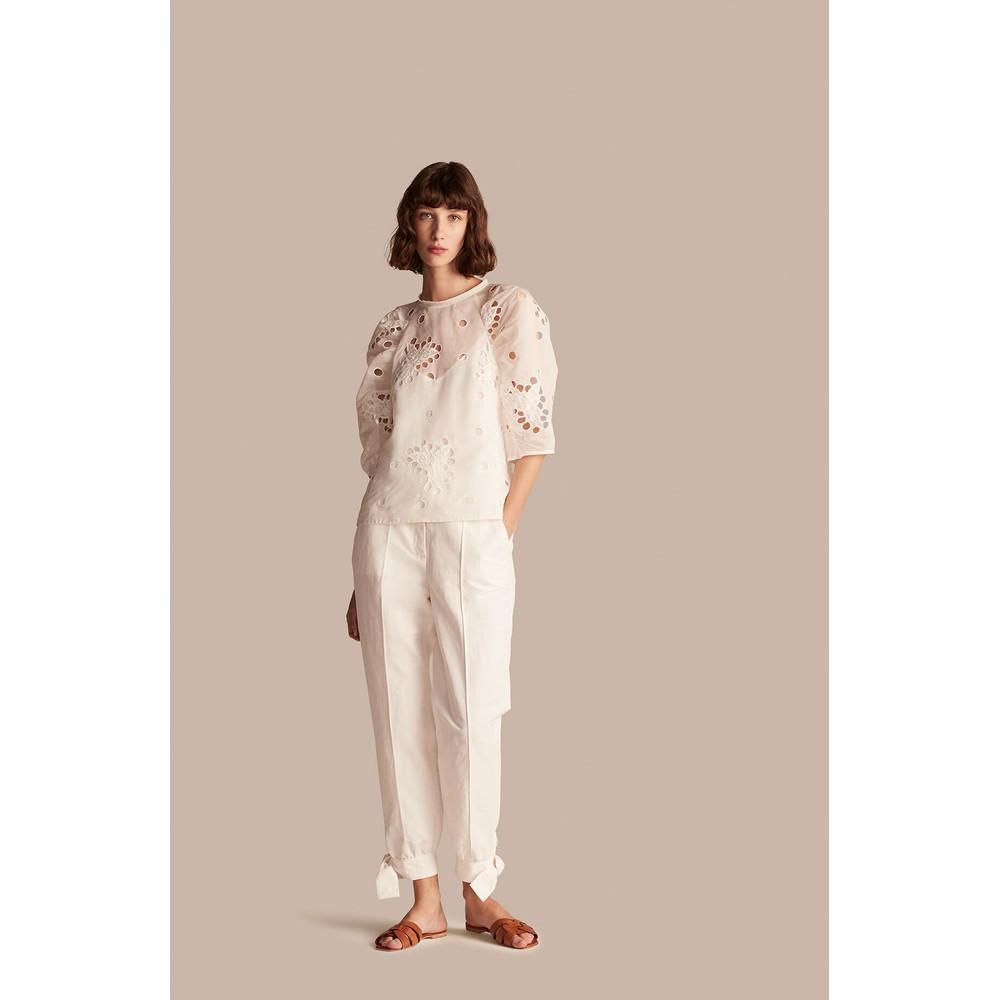 Rebecca Taylor Short Sleeve Honeysuckle Blouse White