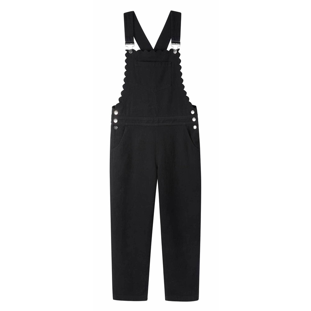 Wyse Scarlett Scallop Dungarees in Black Black