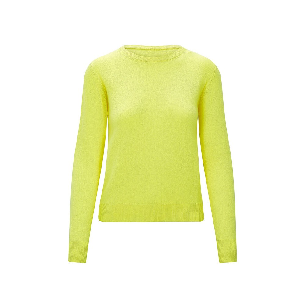 KatieAndJo Round Neck Cashmere Jumper in Citronella Yellow