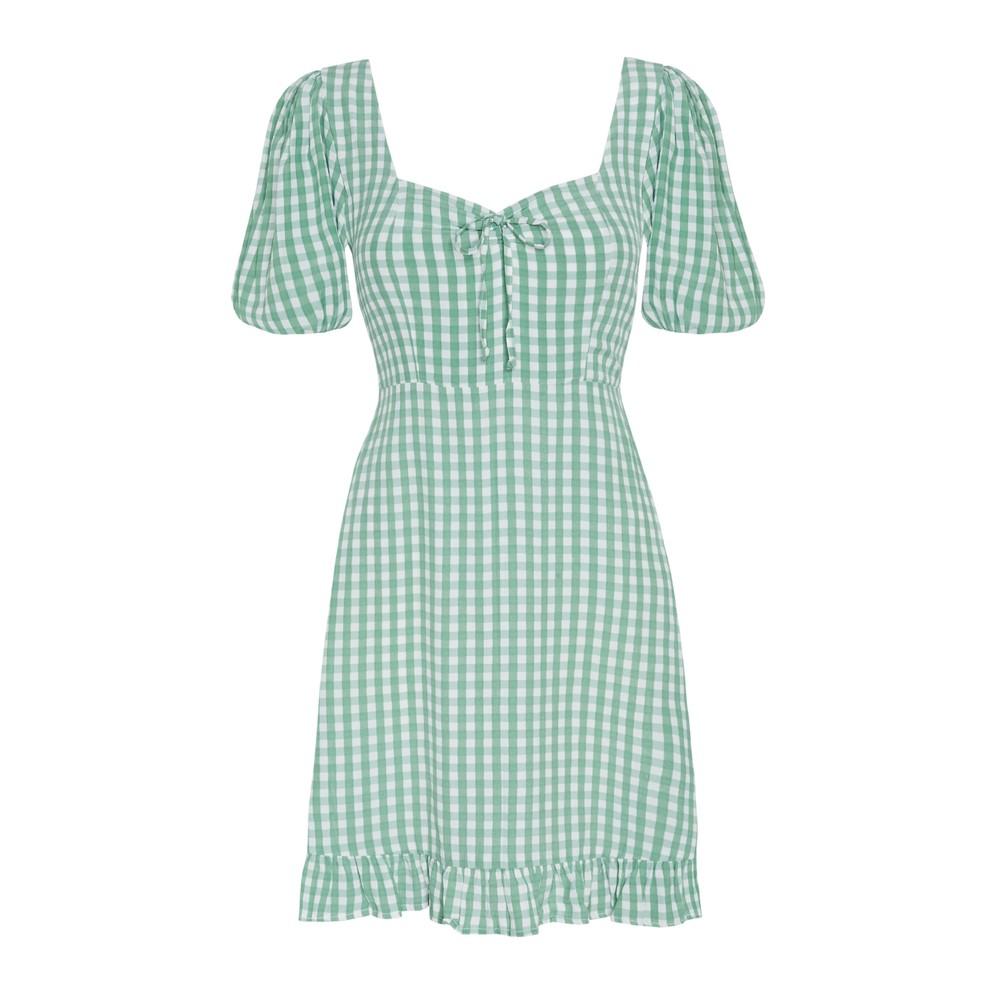 Faithfull The Brand Agathe Check Mini Dress Green