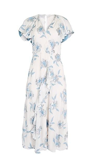 Rebecca Taylor Short Sleeve Metallic Fleur Dress Blue