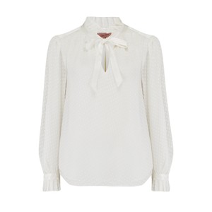 Rebecca Taylor Long Sleeve Dot Clip Blouse in Snow